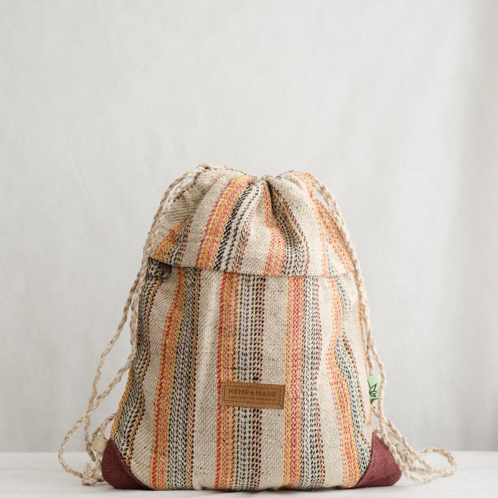 Рюкзак-торба из конопли Хеламбу, яркие полоски