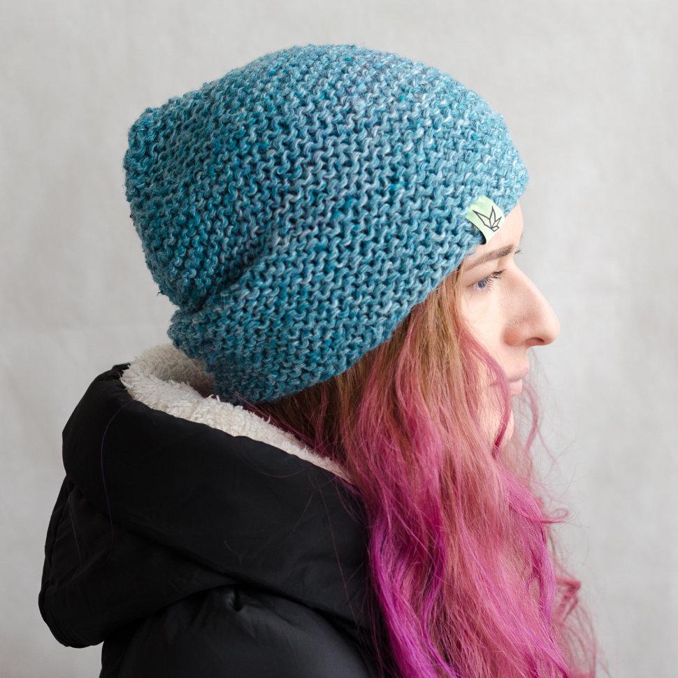 Вязаная шапка бини «Джагат» голубая