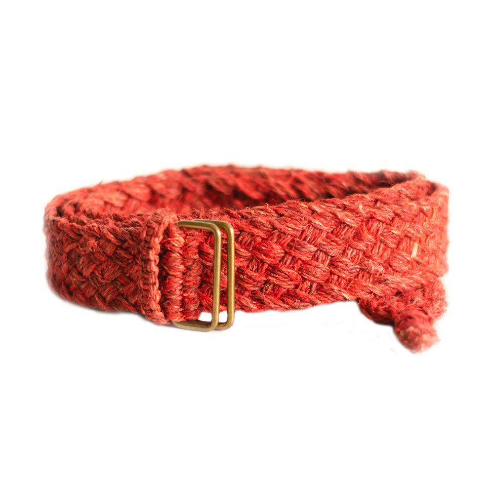 Ремень из конопли бордовый косичка